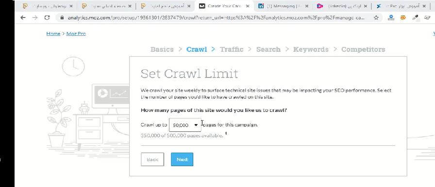 Second step of create campaign for moz