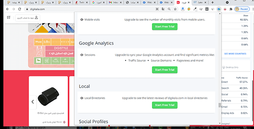 off-page seo by woorank extension(google analyticas & local section)